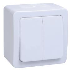Выключатель Гермес 2ОП б/п 10А IP54 в сборе ВС20-2-0-ГПБ белый  EVMP20-K01-10-54-EC