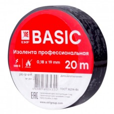 Изолента, класс А (профессиональная), 0.18х19мм, 20 метров, черная EKF