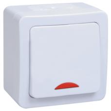 Выключатель Гермес 1ОП с/п 10А IP54 в сборе ВС20-1-1-ГПБ белый  EVMP11-K01-10-54-EC