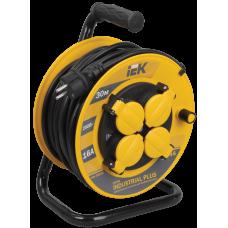 Удлинитель на катушке ПВС 3х1,5 4гн с/з б/шт термовыкл с крышкой IP44 30м УК30 Industrial plus IEK