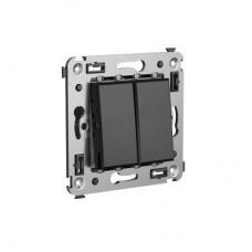 Выключатель двухклавишный в стену Черный квадрат Avanti DKC  4402104