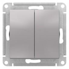 Выключатель АтласДизайн 2СП б/п 10А IP20 механизм алюминий  ATN000351