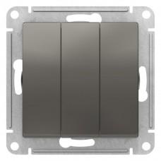 Выключатель АтласДизайн 3СП б/п 10А IP20 механизм сталь  ATN000931