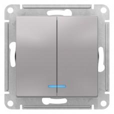 Выключатель АтласДизайн 2СП с/п 10А IP20 механизм алюминий  ATN000353
