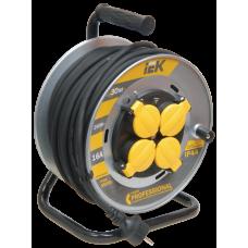 Удлинитель на катушке КГ 3х1,5 4гн с/з б/шт термовыкл с крышкой IP44 30м УК30 Professional IEK  WKP16-16-04-30-44
