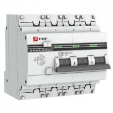 Дифф автомат 3П+N 50А хар-ка C 4,5кА 300мА АС электронный АД-32 EKF  DA32-50-300-4P-pro