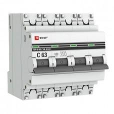 Автомат 4П 25А хар-ка C 4,5kA ВА47-63 PROxima EKF  mcb4763-4-25C-pro