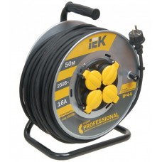 Удлинитель на катушке КГ 3х1,5 4гн с/з б/шт термовыкл с крышкой IP44 50м УК50 Professional IEK  WKP16-16-04-50-44