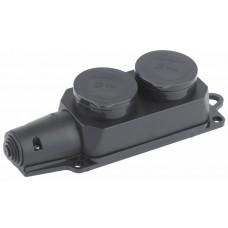 Колодка 2гн с/з 16А с крышкой IP44 черная каучук ЭРА ЭРА Б0030222