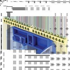 Шина 0 N 6х9мм 22 отверстия латунь синий изолятор на DIN-рейку PROxima EKF