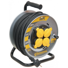 Удлинитель на катушке КГ 3х2,5 4гн с/з б/шт термовыкл с крышкой IP44 30м УК30 Professional IEK