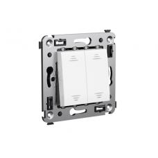 Выключатель двухклавишный в стену Белое облако Avanti DKC  4400104