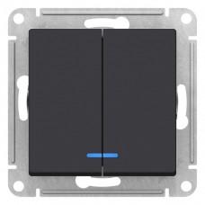 Выключатель АтласДизайн 2СП с/п 10А IP20 механизм карбон  ATN001053