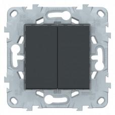 Выключатель Уника NEW 2СП б/п 10А IP21 механизм антрацит  NU521154