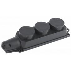 Колодка 3гн с/з 16А с крышкой IP44 черный каучук ЭРА