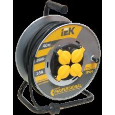 Удлинитель на катушке КГ 3х1,5 4гн с/з б/шт термовыкл с крышкой IP44 40м УК40 Professional IEK