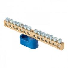 Шина 0 N 6x9мм 14 отверстий латунь синий угловой изолятор EKF