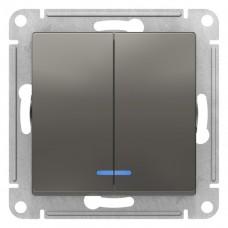 Выключатель АтласДизайн 2СП с/п 10А IP20 механизм сталь  ATN000953