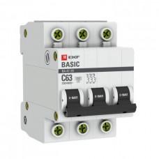 Автомат 3П 16А хар-ка C 4,5кА ВА47-29 Basic EKF  mcb4729-3-16C