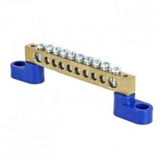 Шина 0 N 8х12мм 10 отверстий латунь 2 синих угловых изолятора PROxima EKF