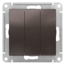 Выключатель АтласДизайн 3СП б/п 10А IP20 механизм мокко
