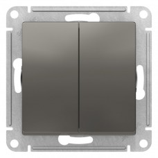 Выключатель АтласДизайн 2СП б/п 10А IP20 механизм сталь  ATN000951