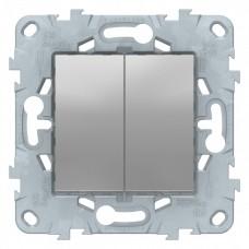 Выключатель Уника NEW 2СП б/п 10А IP20 механизм алюминий  NU521130
