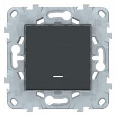 Выключатель Уника NEW 1СП с/п 10А IP20 механизм антрацит  NU520154N