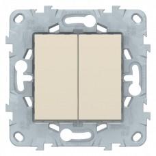 Выключатель Уника NEW 2СП б/п 10А IP20 механизм бежевый  NU521144