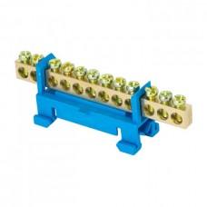 Шина 0 N 6х9мм 12 отверстий латунь синий изолятор тип Стойка на DIN-рейку PROxima ЭКФ
