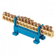 Шина 0 N 6х9мм 14 отверстий латунь синий изолятор тип Стойка на DIN-рейку PROxima ЭКФ  sn0-63-14-sb