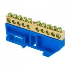 Шина 0 N 6х9мм 10 отверстий латунь синий изолятор на DIN-рейку розничный стикер PROxima EKF