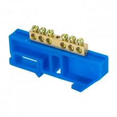 Шина 0 N 6х9мм 6 отверстий латунь синий изолятор на DIN-рейку розничный стикер PROxima EKF
