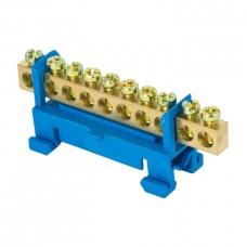 Шина 0 N 6х9мм 10 отверстий латунь синий изолятор тип Стойка на DIN-рейку PROxima EKF