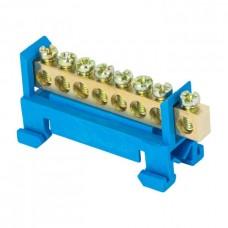 Шина 0 N 6х9мм 8 отверстий латунь синий изолятор тип Стойка на DIN-рейку розничный стикер PROxima EKF