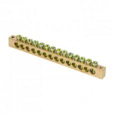 Шина PEN ноль-земля 8х12мм 14 отверстий латунь крепеж по краям розничный стикер PROxima EKF