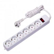 Сетевой фильтр ПВС 3х0,75 6гн с/з с/шт с/выкл белый 5м Блокбастер PROxima EKF