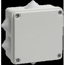 Коробка КМ41234 распаячная для о/п 100х100х50мм IP55 (RAL7035, 6вводов) ИЭК