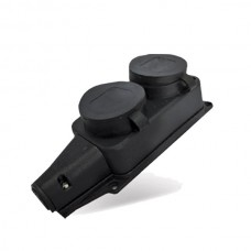 Колодка 2 гн с/з  16А с крышкой IP44 черный каучук UNIVersal